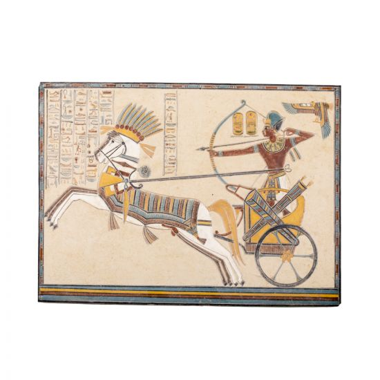 King Rameses Portrait handmade of limestone, Egyptian Wall Decor