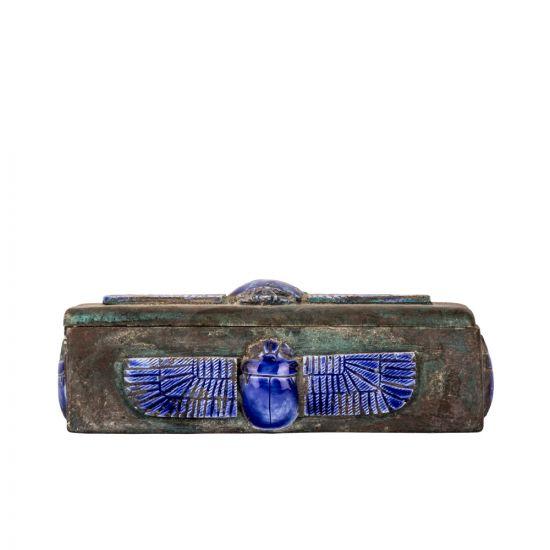 Blue Lips winged scrab adorned, antique vintage Dominoes box