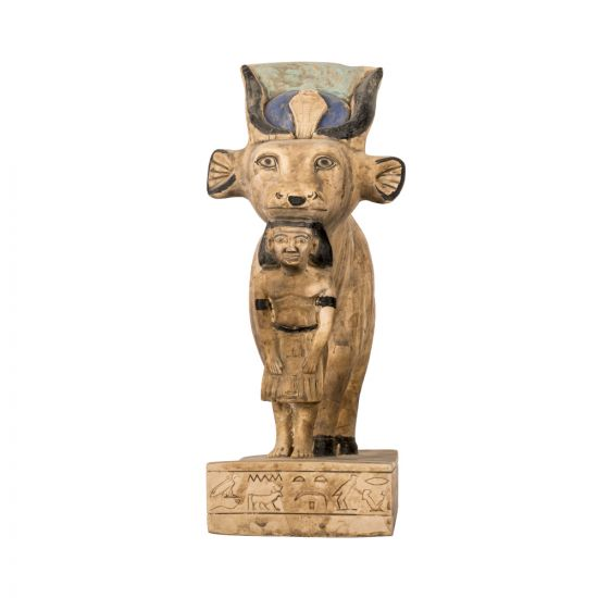 Hathor sculpture with the body of the cow, handmade of Limestone and finished with neutral beige color