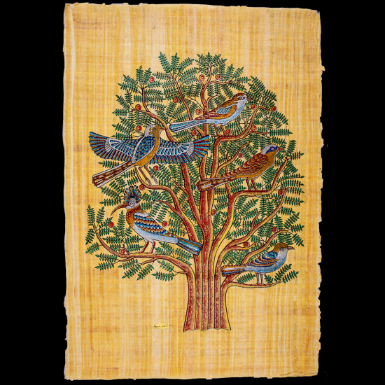 Tree of Life Papyrus portrait hand-painted with gouache colours, Egyptian Tree of Life Papyrus