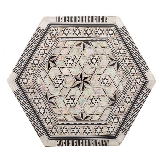 deluxe Islamic hexagonal handmade box, inlaid with precious rare mother of pearl, jewelry wooden hexagonal box