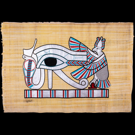 Royal handmade Egyptian Papyrus, hand-embroidered with the Wadjet eye of Horus God, Wedjat
