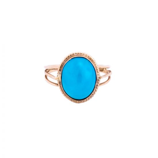 Vintage Turquoise Ring | Oval Turquoise Ring | Egyptian Gold Ring