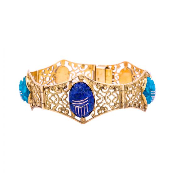 Egyptian Scarab 18K Gold Bracelet, hand-inlaid with Semi Precious Stones, Stone Scarab Bracelet
