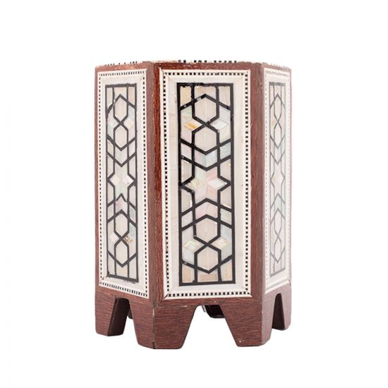 Arabesque Deluxe Pen Holder, handmade of Mahogany wood and inlaid with Mother-of-Pearls, Wooden Pen Stand