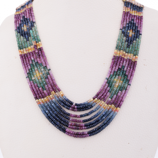 Lustrous multiple layers necklace, Gemstone Necklace