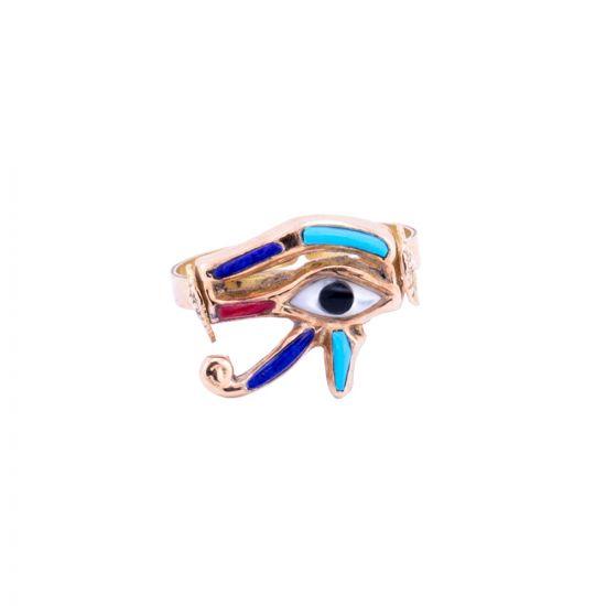 Wedjat Eye of Horus handmade of 18K Gold and inlaid with Semi-Precious Stones, Eye of Horus Ring