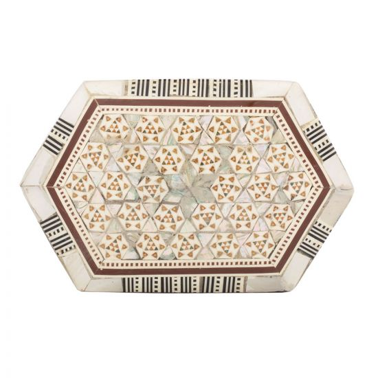 Hexagonal Wooden Box, Islamic arabesque, inlaid with rare precious mother of pearl