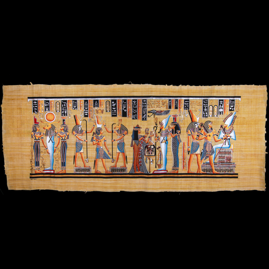 Royal Papyrus Portrait of Ramesses II coronation scene in the presence of Gods and Deities.
