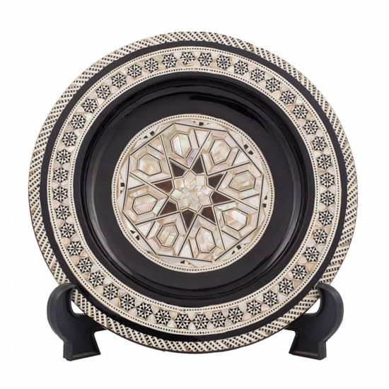 Front Image of Arabesque designed decorative plate handmade, mother-of-pearl inlaid, hanging plate for sale