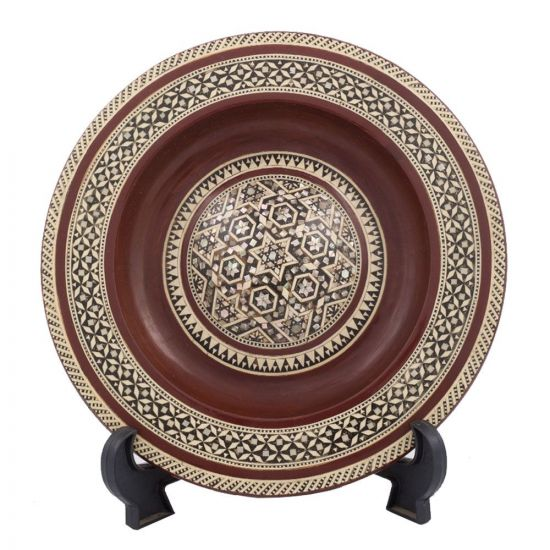 Front Image of Arabesque designed Plate, handmade of wood and inlaid with mother-of-pearl, hanging mother-of-pearl plate