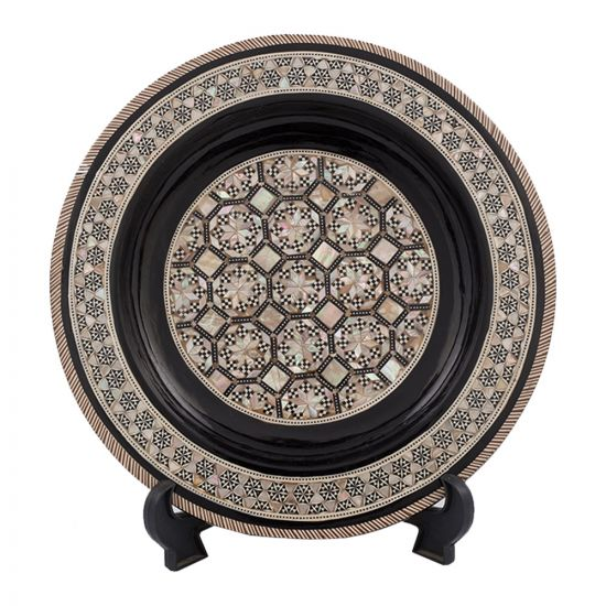 Black Arabesque designed Plate handmade and inlaid with mother-of-pearl, Egyptian Antique Plate, Front Image