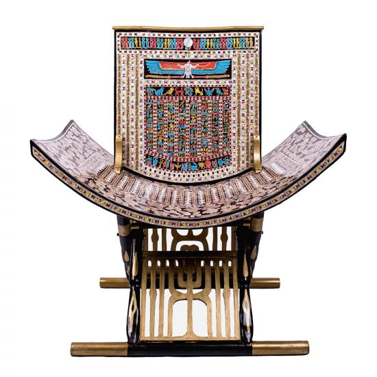 Front Image of the king tut's throne handmade of wood and inlaid with mother-of-pearl, shop Egyptian statue for sale