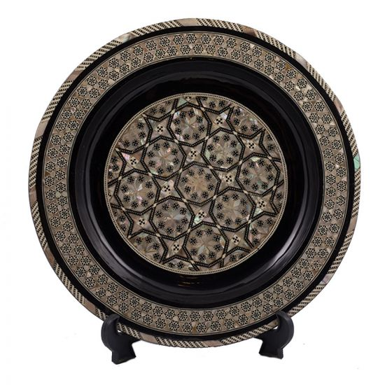 Front Image, Arabesque designed handmade wood plate, mother-of-pearl inlaid, Pearl Inlay Plate