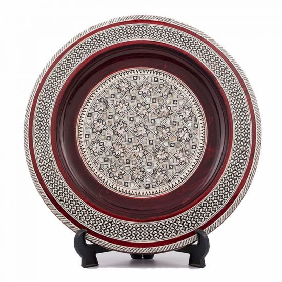Front Image to a Deluxe Arabesque Wood Plate, Decorative Plate