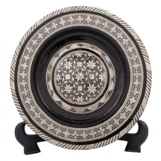Front image, Handmade wood decorative plate inlaid with mother of pearls, Mother of pearl plate for sale