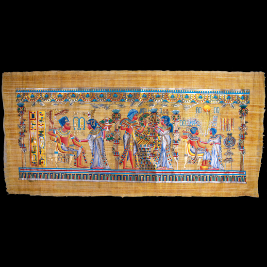 Royal Papyrus Portrait of King Tutankhamen's marriage ceremony in the presence of the Sun God Re'.