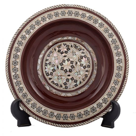 Front Image, Brown Arabesque pattern designed decorative plate handmade and inlaid with mother-of-pearls, Decorative plate for hanging