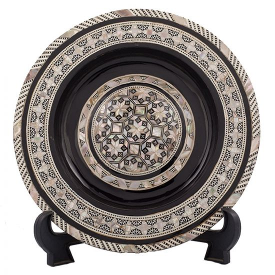 Black painted arabesque antique plate handmade of wood and inlaid with mother of pearls, Arabesque antique plate