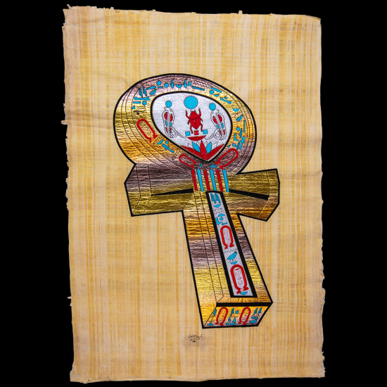 Royal Papyrus Portrait of The Key of life, Ankh in the Ancient Egyptian Language.