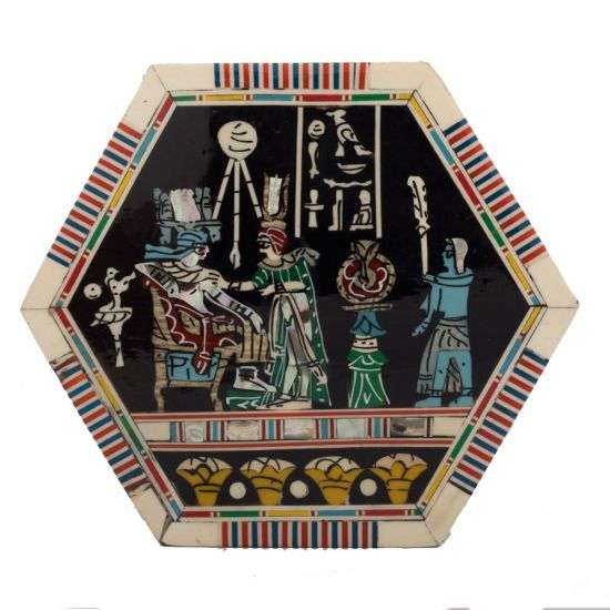 Pharaonic Wooden Hexagonal Box Handcrafted with Precious Mother of Pearl Depicting King Tut and Wife Love Scene