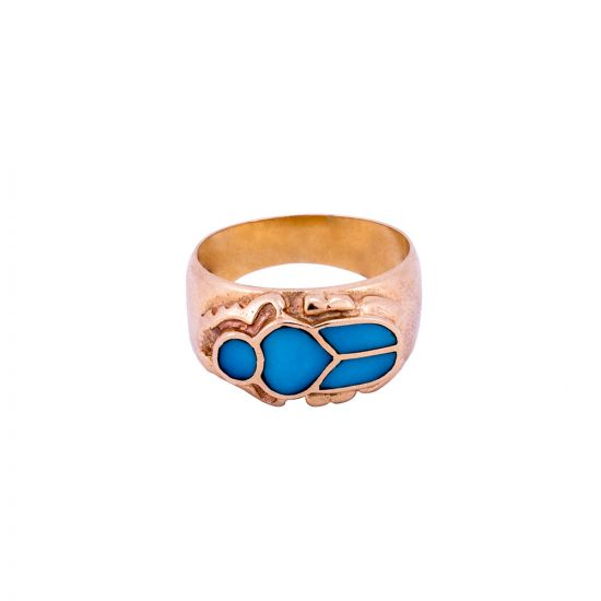 Ancient Egyptian Scarab Ring Handmade of 18K Gold and inlaid with semi-precious Turquoise stone