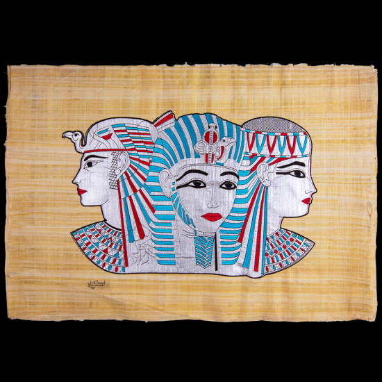Royal Papyrus Embroidery Portrait of Three angels of Ancient Egyptian myth.