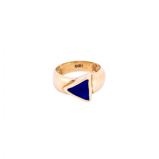 Galaxy Triangle Ring Handmade of 18K Gold and inlaid with Semi -precious Lapis stone, Blue Lapis Ring
