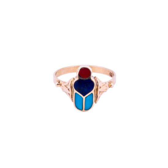 Ancient Egyptian Scarab Ring handmade of 18K Gold and Inlaid with semi-precious stone, Semi-Precious Stone Ring