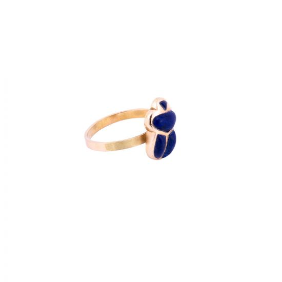 Handmade 18K Gold ancient Egyptian Scarab Ring adorned with semi-precious Lapis Stones