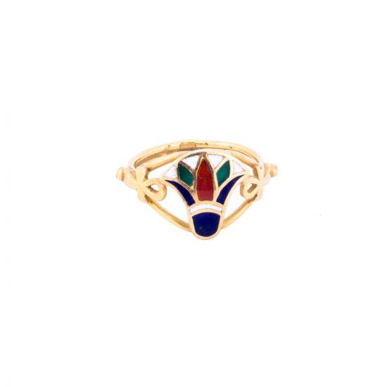 Semi-Precious Stone Adorned Lotus Flower Ring handmade of 18K Gold, Lotus Flower Gold Ring