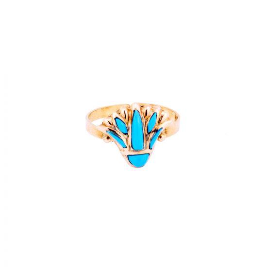 Semi Precious Turquoise Stone Adorned Gold lotus Flower Ring, Lotus Ring Gold