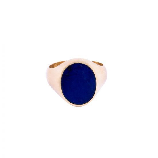Unisex Handmade of 18K Gold and inlaid with Semi Precious Lapis Stone, Lapis Gold Ring