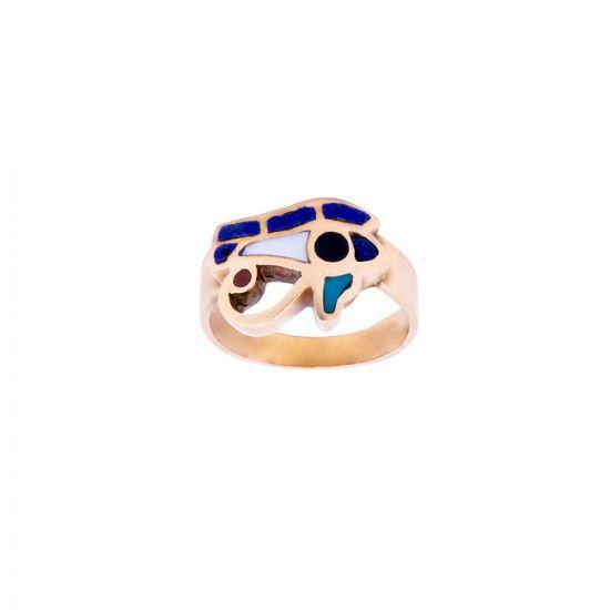 18k Gold, semi-precious stones inlaid Horus Eye Ring, Eye of Horus Ring Gold