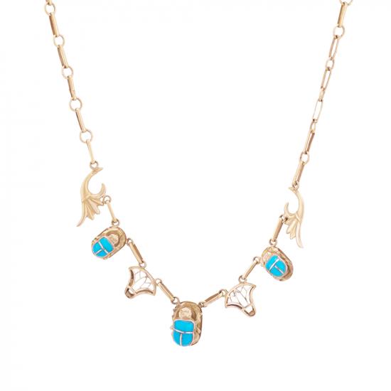 18K Gold Handmade Scarab Pendant Necklace inlaid with Turquoise Stone, Turquoise Gold Necklace