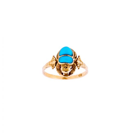 Ancient Egyptian Scarab 18K Gold Ring inlaid with Semi-precious Turquoise stone