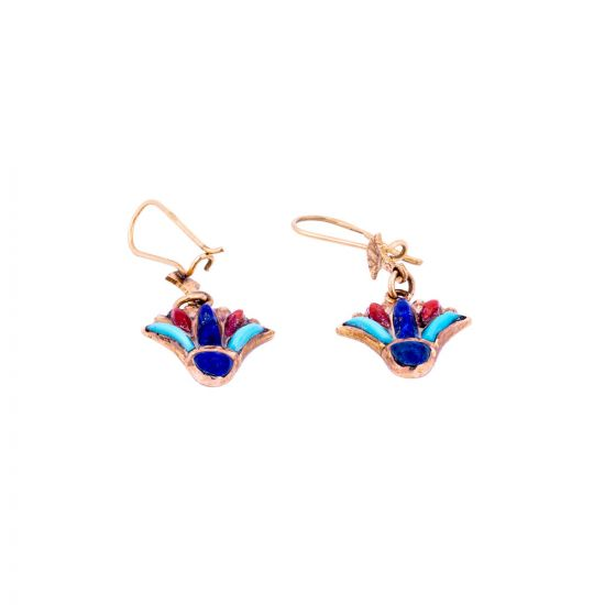 Handmade 18K Gold Lotus Earrings inlaid with semi-precious stones, Lotus Earrings Gold