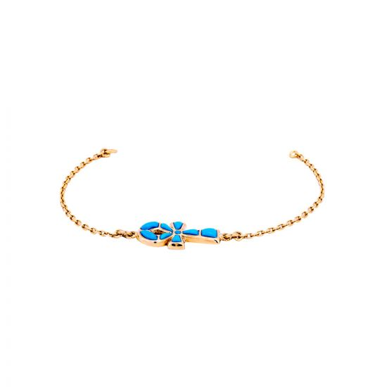 Turquoise Ankh Gold Handmade bracelet, Gold Chain Bracelet, Gold Ankh Bracelet
