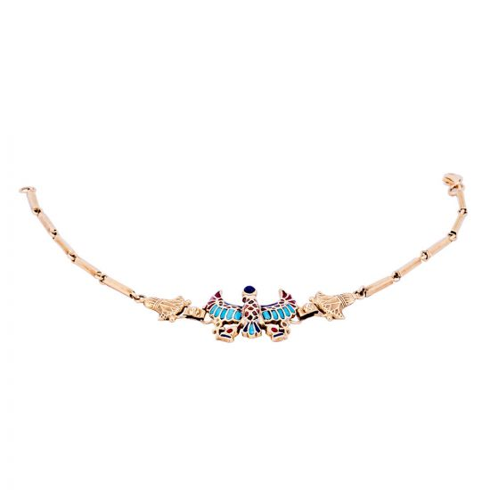18k gold shinny bracelet with the Egyptian scarab amulet pendant hand-inlaid with semi-precious stones of turquoise, coral, and lapis.