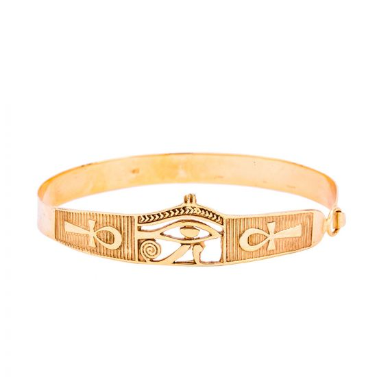 18K Gold handmade cuff of Horus Eye adorned with the wisdom Key of Life, Egyptian Eye Bracelet