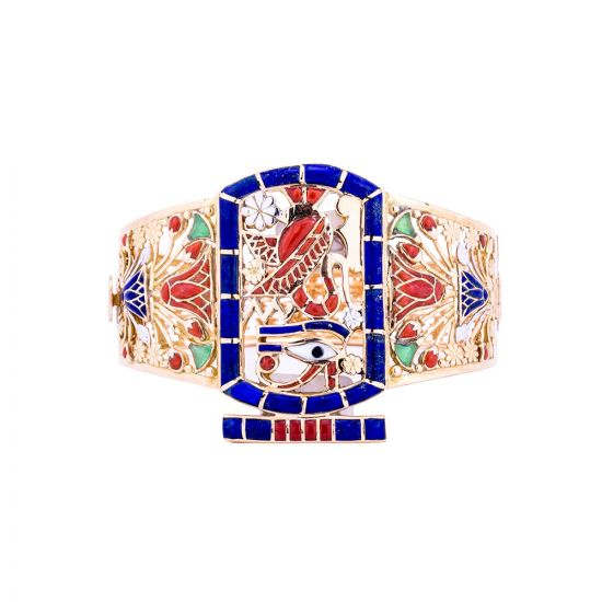 Gold precious stones inlaid bracelet Pharaonic symbols designed, Gold Bangle