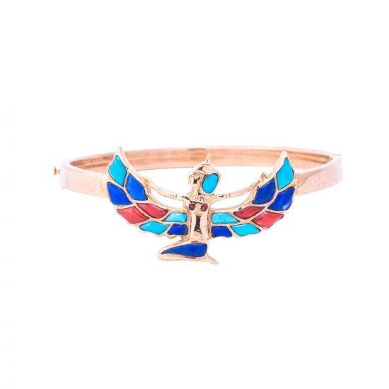 18k Gold Winged Goddess Isis Hand-Cuff Adorned with semi-precious Stones, Winged Isis Cuff