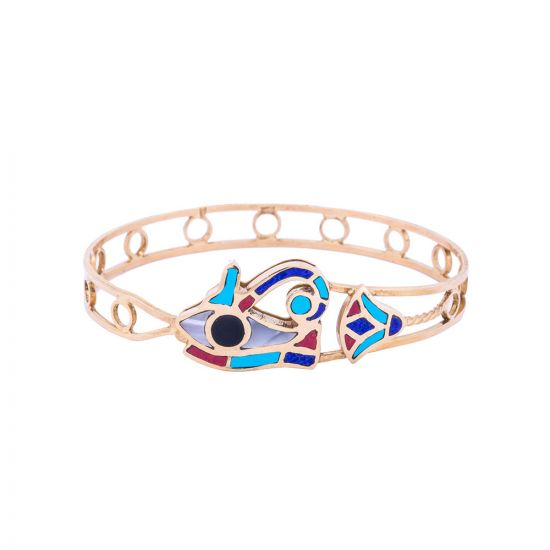 Horus Eye hand-cuff handmade of 18K Gold and inlaid with semi-precious stones, Eye of Horus Bangle, Eye of Horus Jewelry