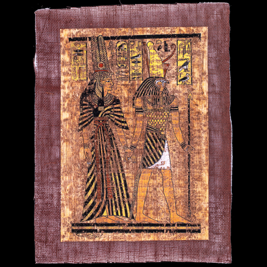 80 years aged Unique hand-Crafted Papyrus Portrait of Queen Nefertari guided by Horus.