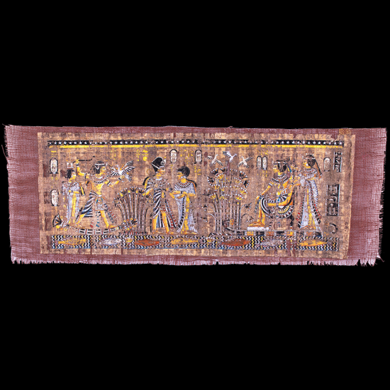 80 years aged Unique masterpiece hand-Crafted Papyrus Portrait of a Love scene of King Tut and his wife.