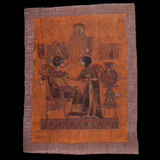 Unique Egyptian Papyrus handmade with a portrait of king Tut throne, King Tut Wife