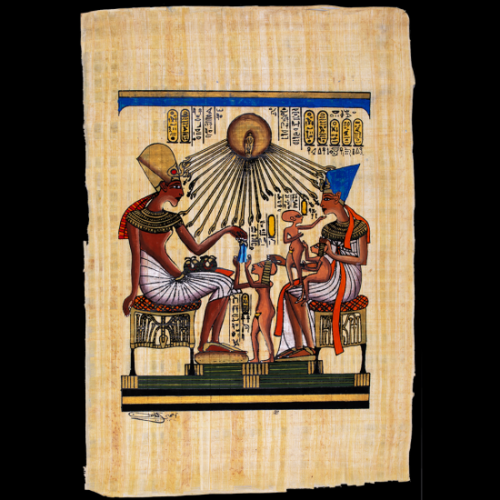 Royal Handmade Egyptian Papyrus Paintings Featuring King Akhnaton's family, gyptian Papyrus Paintings