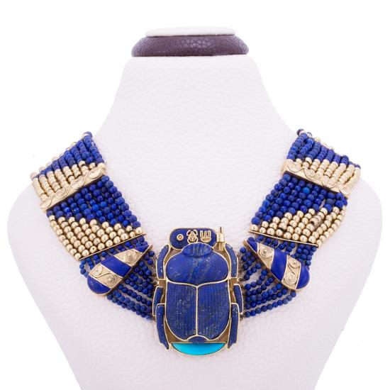 Gold Gemstone Scarab Necklace, Scarab Necklace