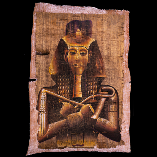 Unique handmade papyrus with king Ramses II mask hand painting with natural gouache colors, Ramses II mask