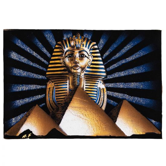 Egyptian Papyrus Portrait of Tutankhamen's golden mask, the great pyramids and the sun rays, symbolizing of Ancient Egypt History